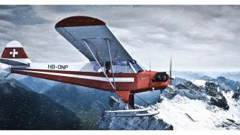 Weather artwork art design skies piper cub Wallpaper