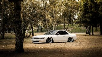White tuned nissan silvia s13 stance jdm wallpaper