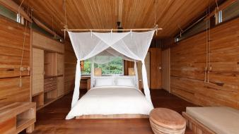Wood beds interior designs Wallpaper