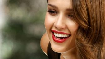 Alba actress long hair celebrity smiling faces wallpaper