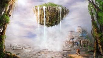 Artwork floating island christian quinot wallpaper
