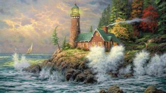 Artwork lighthouses paintings sea trees wallpaper