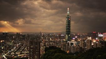 Clouds cityscapes night buildings skyscrapers taipei 101 wallpaper