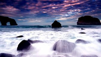 Clouds coast seascapes wallpaper