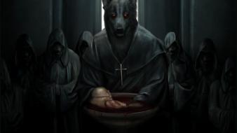 Cross church werewolf priest bloodbath hooded wallpaper