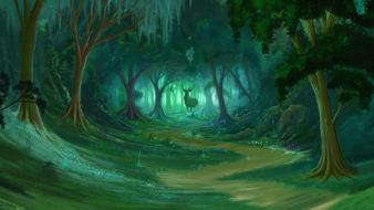 Fantasy forest deer art drawings Wallpaper
