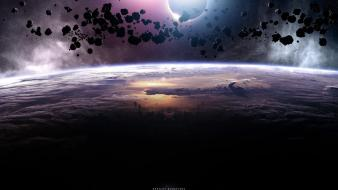 Fantasy outer space dark planets art background Wallpaper