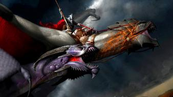 Knights fantasy art battles artwork warriors spears Wallpaper