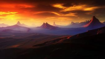 Landscapes desert digital art wallpaper