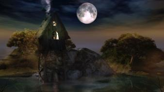 Nature night cottage rural wallpaper