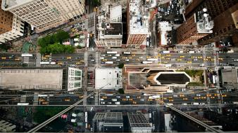 New york city roads cities aerial view wallpaper