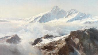 Paintings mountains clouds landscapes snow artwork traditional art wallpaper