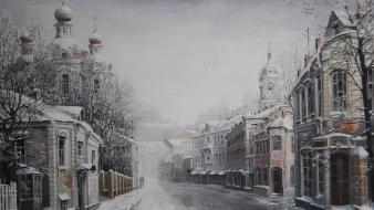 Paintings winter snow trees streets russia houses wallpaper