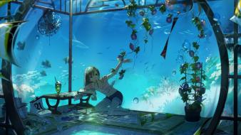 Pencils underwater wind chimes original characters fans wallpaper