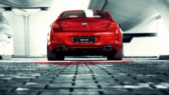 Red cars vehicles bmw m6 rear view wallpaper