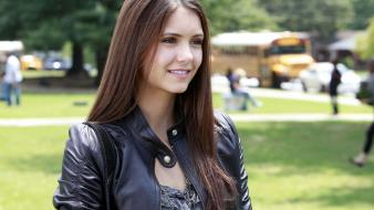 The vampire diaries actress celebrity leather jacket Wallpaper