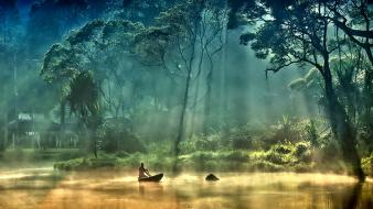 Trees forest boats lakes foggy wallpaper