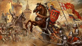 Video games england knights france horses medieval wallpaper