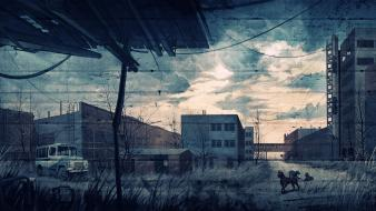 Video games s.t.a.l.k.e.r. fences buildings chernobyl wallpaper