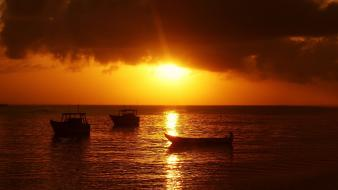 Water sunrise boats seascapes india wallpaper