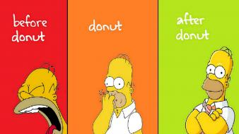Yellow homer simpson donuts the simpsons hungry Wallpaper