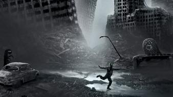 Apocalyptic romantically photomanipulation vitaly s alexius cities wallpaper