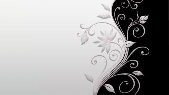 Black and white minimalistic flowers leaves design simple wallpaper