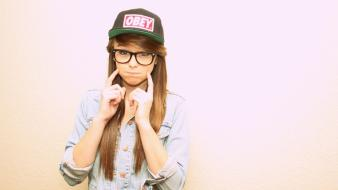 Blondes women glasses baseball caps denim clothing wallpaper