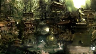 Cityscapes chinese digital art artwork airbrushed cities wallpaper
