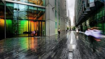 Cityscapes rain people buildings Wallpaper