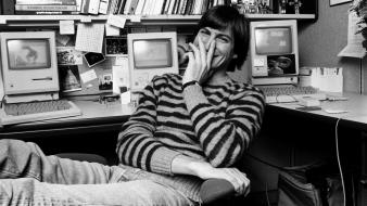 Computers young grayscale smiling steve jobs striped clothing wallpaper
