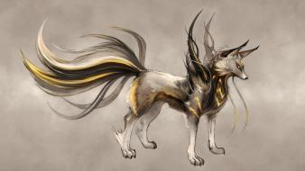 Fiction animals yellow eyes artwork drawings wallpaper