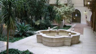 Garden fountain dorm wallpaper