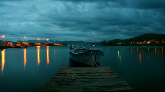 Landscapes cityscapes night boats lakes wallpaper