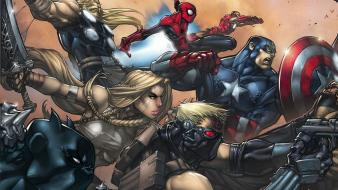 Marvel hawkeye ultimates walkira ultimate spider-man superhero wallpaper