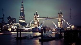 Metropolis city lights tower bridge rivers skyscapes wallpaper