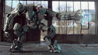 Military robots war machine warehouse wallpaper