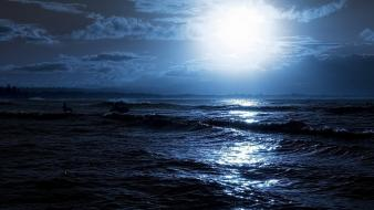 Moon moonlight seascapes sea wallpaper