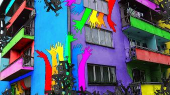 Multicolor graffiti buildings bosanski brod wallpaper
