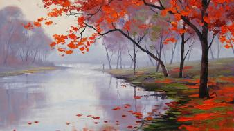 Paintings nature trees autumn (season) leaves artwork rivers Wallpaper