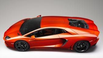 Red cars lamborghini aventador side view Wallpaper