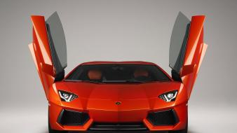 Red lamborghini aventador front view open doors wallpaper