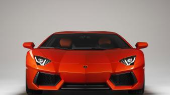Red lamborghini aventador front view Wallpaper