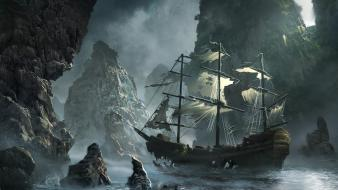 Water mountains ships artwork ghost ship Wallpaper