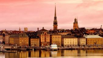 Water sweden town stockholm sea Wallpaper