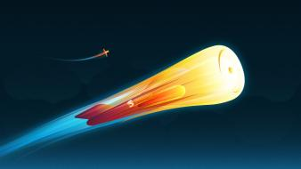 Aircraft outer space fire rocket smashing magazine skies wallpaper