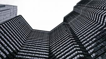 Architecture grayscale skyscrapers wallpaper