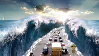 Bible roads mythology moses surreal art sea Wallpaper