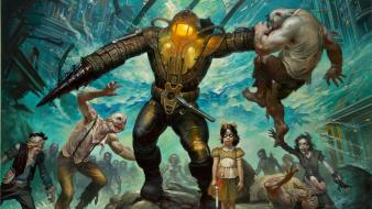 Big daddy little sister bioshock splice wallpaper