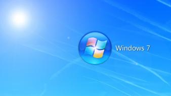 Blue windows 7 operating systems logos wallpaper